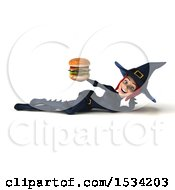 Clipart Of A 3d Sexy Blue Witch Holding A Burger On A White Background Royalty Free Illustration