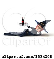 Clipart Of A 3d Sexy Blue Witch Holding Wine On A White Background Royalty Free Illustration by Julos