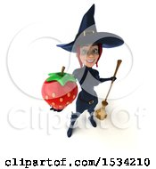 Clipart Of A 3d Sexy Blue Witch Holding A Strawberry On A White Background Royalty Free Illustration by Julos