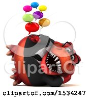 3d Red Business T Rex Dinosaur Holding Messages On A White Background