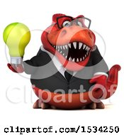 3d Red Business T Rex Dinosaur Holding A Light Bulb On A White Background