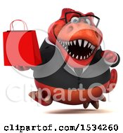 3d Red Business T Rex Dinosaur Holding A Shopping Bag On A White Background