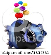3d Blue Business T Rex Dinosaur Holding Messages On A White Background