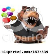 3d Brown Business T Rex Dinosaur Holding Messages On A White Background