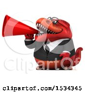 Clipart Of A 3d Red Business T Rex Dinosaur Using A Megaphone On A White Background Royalty Free Illustration
