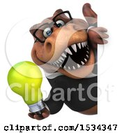 3d Brown Business T Rex Dinosaur Holding A Light Bulb On A White Background
