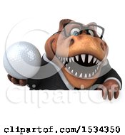 3d Brown Business T Rex Dinosaur Holding A Golf Ball On A White Background
