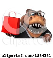 3d Brown Business T Rex Dinosaur Holding A Shopping Bag On A White Background