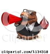 Clipart Of A 3d Brown Business T Rex Dinosaur Holding A Blood Drop On A White Background Royalty Free Illustration