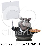 Clipart Of A 3d Business Rhinoceros Holding A Pizza On A White Background Royalty Free Illustration