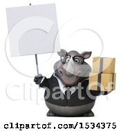 Clipart Of A 3d Business Rhinoceros Holding Boxes On A White Background Royalty Free Illustration