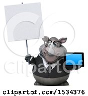 3d Business Rhinoceros Holding A Tablet On A White Background