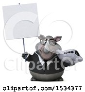 Clipart Of A 3d Business Rhinoceros Holding A Plane On A White Background Royalty Free Illustration