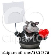 3d Business Rhinoceros Holding A Heart On A White Background