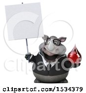 Clipart Of A 3d Business Rhinoceros Holding A Blood Drop On A White Background Royalty Free Illustration