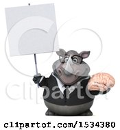 Clipart Of A 3d Business Rhinoceros Holding A Brain On A White Background Royalty Free Illustration