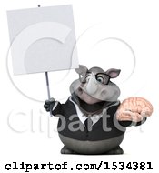 3d Business Rhinoceros Holding A Brain On A White Background