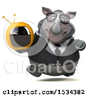 Clipart Of A 3d Business Rhinoceros Holding A Tv On A White Background Royalty Free Illustration
