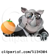 Clipart Of A 3d Business Rhinoceros Holding An Orange On A White Background Royalty Free Illustration
