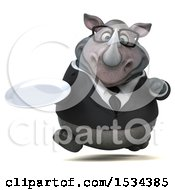 Clipart Of A 3d Business Rhinoceros Holding A Plate On A White Background Royalty Free Illustration