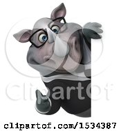 Clipart Of A 3d Business Rhinoceros Holding A Thumb Up On A White Background Royalty Free Illustration