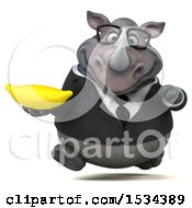 Clipart Of A 3d Business Rhinoceros Holding A Banana On A White Background Royalty Free Illustration