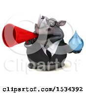 Clipart Of A 3d Business Rhinoceros Holding A Water Drop On A White Background Royalty Free Illustration