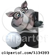3d Business Rhinoceros Holding A Golf Ball On A White Background