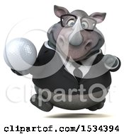 Clipart Of A 3d Business Rhinoceros Holding A Golf Ball On A White Background Royalty Free Illustration