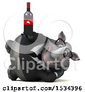 Clipart Of A 3d Business Rhinoceros Holding Wine On A White Background Royalty Free Illustration