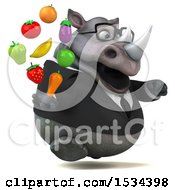 Clipart Of A 3d Business Rhinoceros Holding Produce On A White Background Royalty Free Illustration