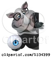 Clipart Of A 3d Business Rhinoceros Holding An Eyeball On A White Background Royalty Free Illustration