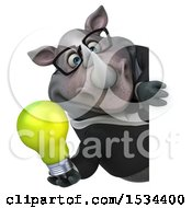 Clipart Of A 3d Business Rhinoceros Holding A Light Bulb On A White Background Royalty Free Illustration