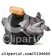 Clipart Of A 3d Business Rhinoceros Holding A Hot Dog On A White Background Royalty Free Illustration