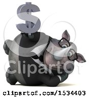 Clipart Of A 3d Business Rhinoceros Holding A Dollar Sign On A White Background Royalty Free Illustration