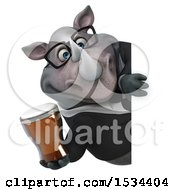 Clipart Of A 3d Business Rhinoceros Holding A Beer On A White Background Royalty Free Illustration