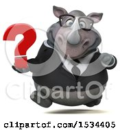 Clipart Of A 3d Business Rhinoceros Holding A Question Mark On A White Background Royalty Free Illustration