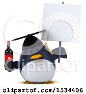 3d Chubby Penguin Graduate Holding Wine On A White Background
