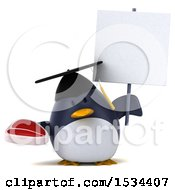 3d Chubby Penguin Graduate Holding A Steak On A White Background