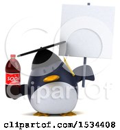 3d Chubby Penguin Graduate Holding A Soda On A White Background