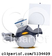 Clipart Of A 3d Chubby Penguin Sailor Holding A Plane On A White Background Royalty Free Illustration