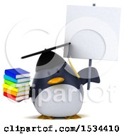 3d Chubby Penguin Graduate Holding Books On A White Background