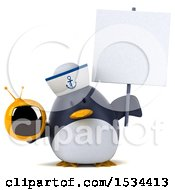 Clipart Of A 3d Chubby Penguin Sailor Holding A Tv On A White Background Royalty Free Illustration