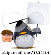 3d Chubby Penguin Graduate Holding A Cupcake On A White Background