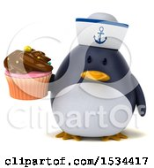 Clipart Of A 3d Chubby Penguin Sailor Holding A Cupcake On A White Background Royalty Free Illustration