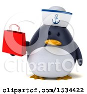 3d Chubby Penguin Sailor Holding A Shopping Bag On A White Background