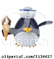 Clipart Of A 3d Chubby Penguin Sailor Holding A Waffle Cone On A White Background Royalty Free Illustration