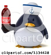 Clipart Of A 3d Chubby Penguin Sailor Holding A Soda On A White Background Royalty Free Illustration