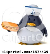Clipart Of A 3d Chubby Penguin Sailor Holding A Hot Dog On A White Background Royalty Free Illustration
