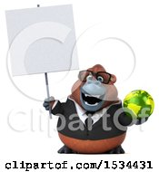 Clipart Of A 3d Business Orangutan Monkey Holding A Globe On A White Background Royalty Free Illustration